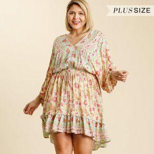 Umgee Plus Size Cream Floral Balloon Sleeve Dress